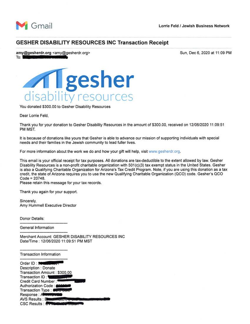 JBN of Arizona donates to Gesher in Phoenix in 2020